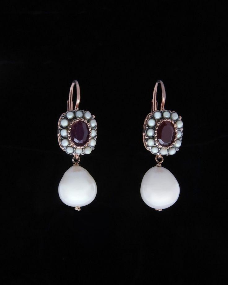 Κρεμαστά σκουλαρίκια με Γρανάδα & Μαργαριτάρια
