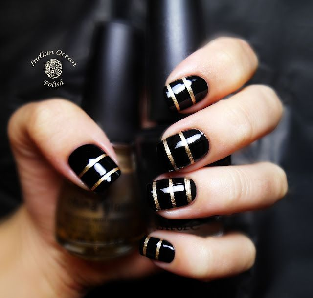17 Best Images About Black And Gold Nail Polish On