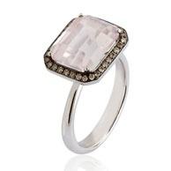 Annoushka Chameleon large octagon ring in gold, diamond and quartz