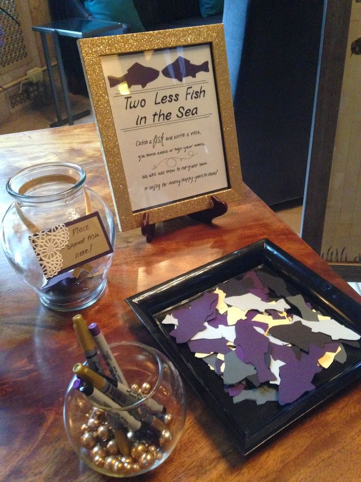 Wedding Guestbook || Two less fish in the sea || guest book ideas || DIY guestbook || purple and gold wedding