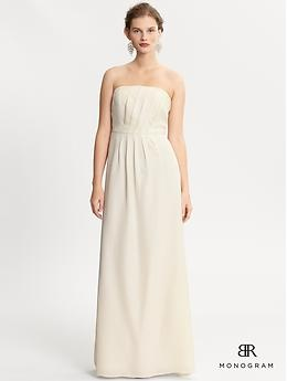 Wedding Dress on a budget... almost like this more than my own!  BR Monogram strapless silk dress | Banana Republic: Wedding Dressses, Wedding Dresses, Silk Dress 180, Dress Wedding, Republic Monogram, Elopement Dresses, White Silk, Banana Republic
