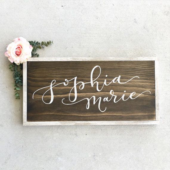 Nursery Name Sign  Engraved  Nursery Sign  by LoveSupplyCo on Etsy