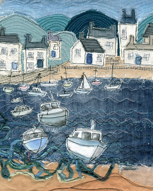 A4 Print of Textile Art with free hand machine embroidery depicting a harbour scene - Folksy