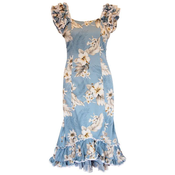 Sky Blue Hawaiian Meaaloha Muumuu Dress with Sleeves   #hawaiiandresses #sexyhawaiiandresses #sundress #hawaiianweddingdress #maxidress #floraldress #hawaiiandress
