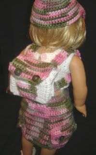 "Bizzy Crochet: Cargo Skirt Outfit w/Backpack- 18"" Doll pattern"
