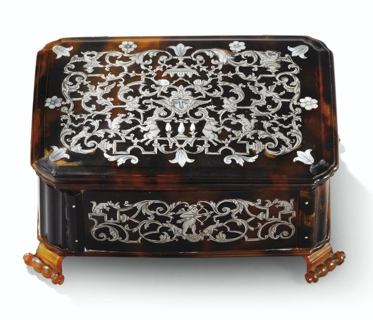 A TORTOISESHELL SILVER AND MOTHER-OF-PEARL PIQUÉ CASKET, PROBABLY FRANCE, CIRCA 1670
