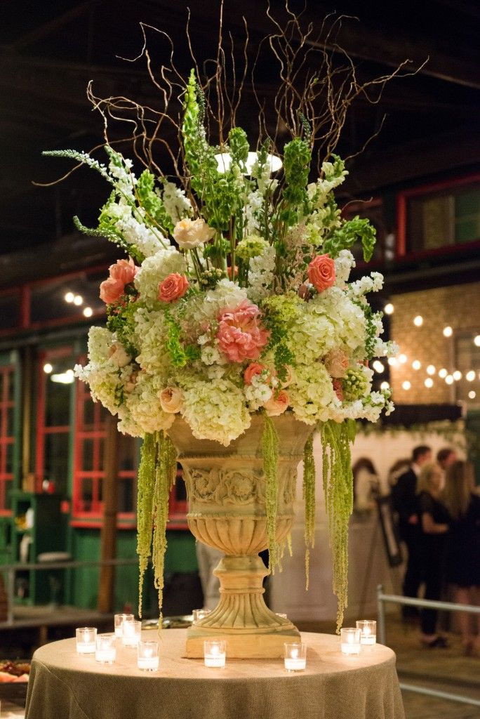 meridian ms wedding florist  | coral peony centerpiece | large floral arrangement for food buffet | weddings at soule steam meridian ms