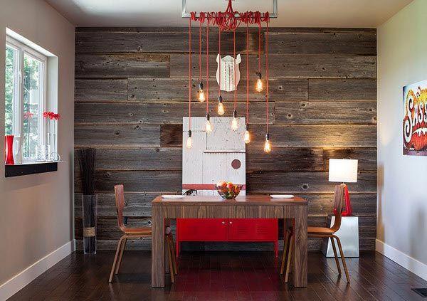 деревянная стена в интерьере