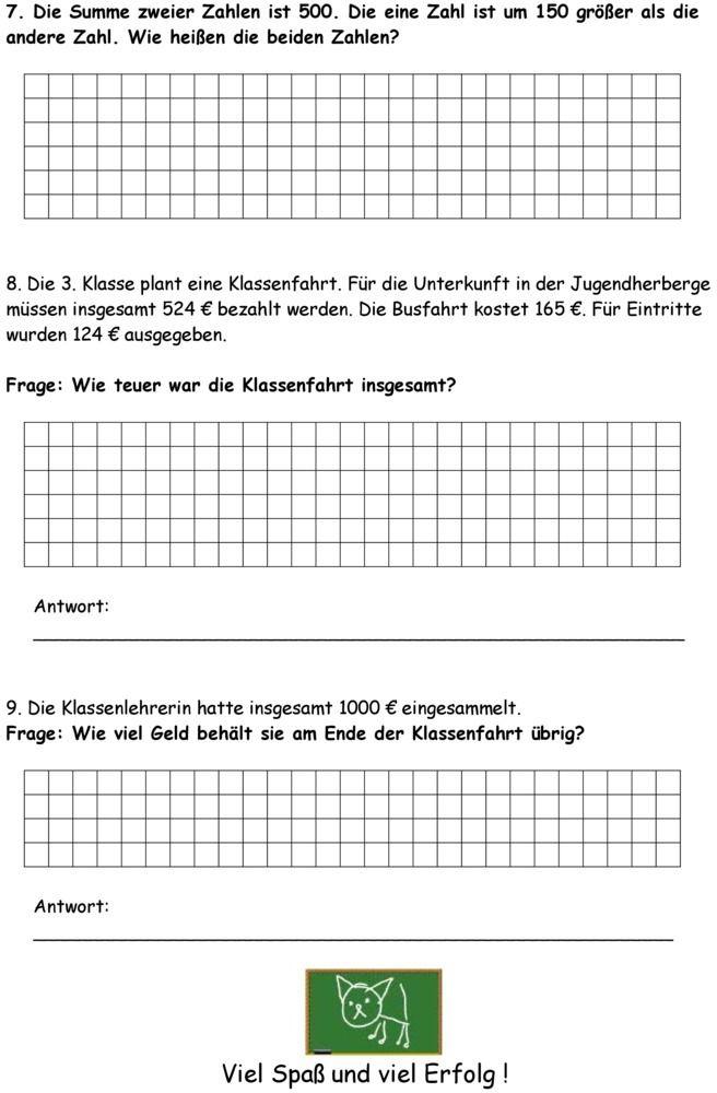 klassenarbeit zu schriftliche addition und subtraktion 3