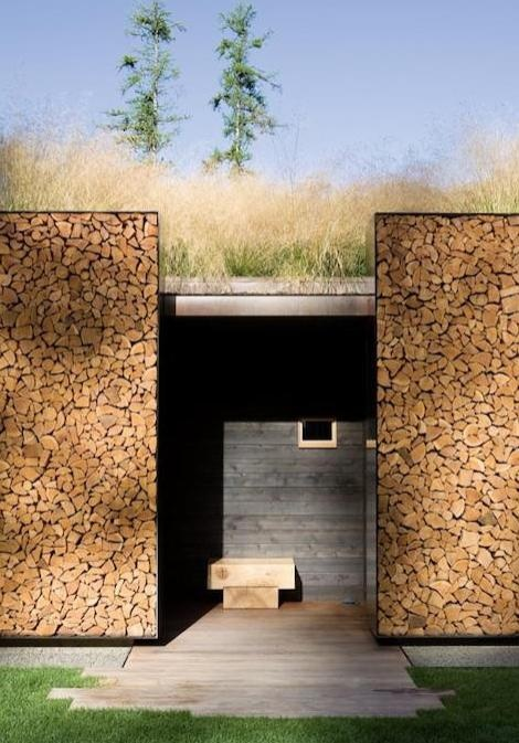 Firewood storage wall
