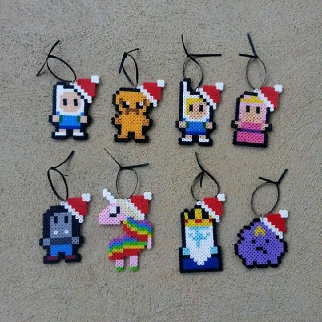 Adventure Time Christmas ornaments perler beads by burritoprincessonetsy