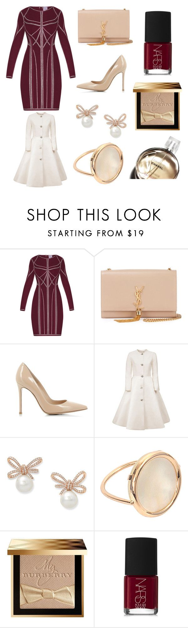 """Burgundy classy"" by giovanna-222 on Polyvore featuring Hervé Léger, Yves Saint Laurent, Gianvito Rossi, Esme Vie, Ginette NY, Chanel, Burberry and NARS Cosmetics"