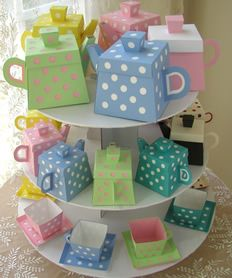 Tea pots made of paper - cute tea party favours!