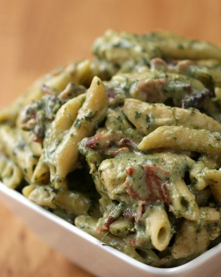 This One-Pot Chicken Spinach Bacon Alfredo can be altered for a healthier version.