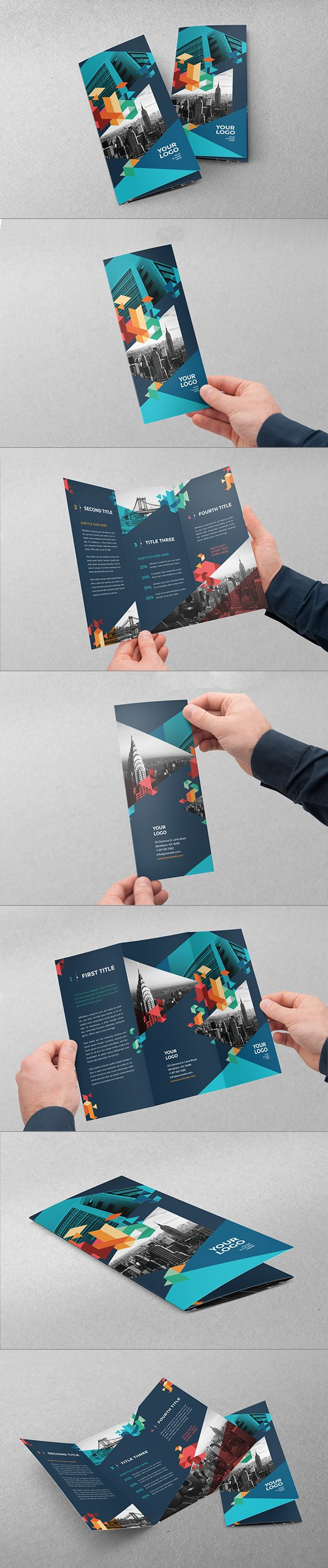 Colorful Blue Trifold. Download here: http://graphicriver.net/item/colorful-blue-trifold/10814349?ref=abradesign #trifod #brochure #design