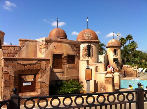 The Caribbean Beach's feature pool has amazing theming.