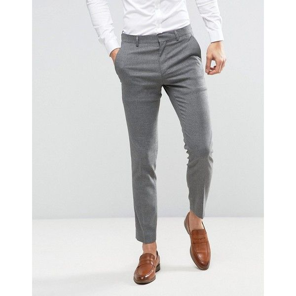 ASOS WEDDING Skinny Suit Pant In Gray Micro Texture ($61) ❤ liked on Polyvore featuring men's fashion, men's clothing, men's pants, men's dress pants, grey, mens polyester pants, mens super skinny dress pants, mens tall pants, mens skinny pants and mens woven pants
