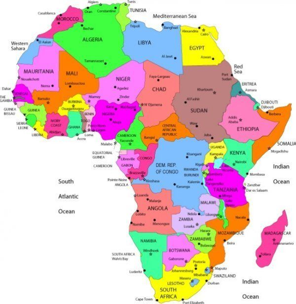 MAP OF AFRICA WITH COUNTRIES AND CAPITALS LABELED ...