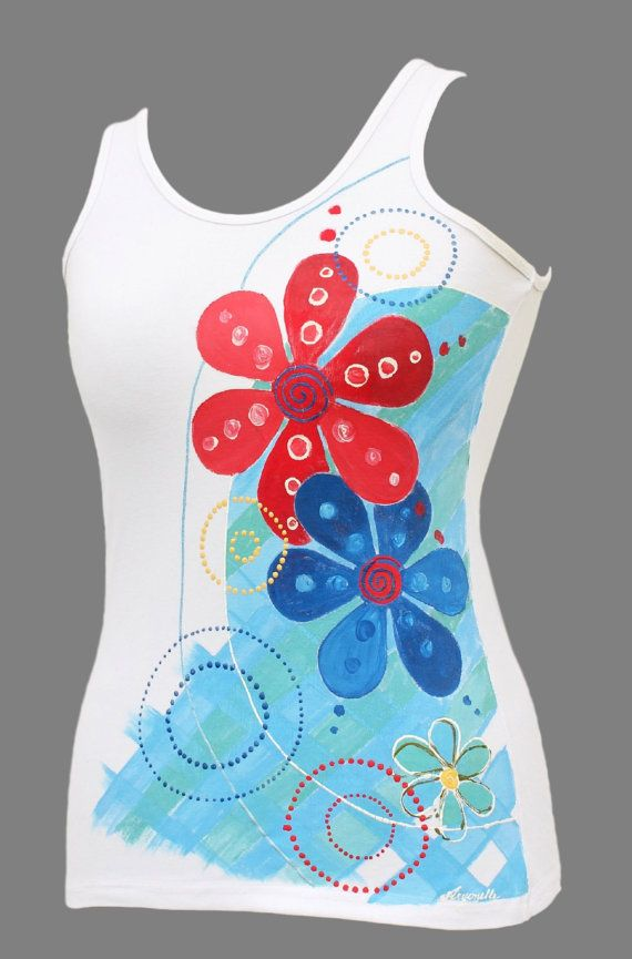 Hand-painted T-shirt-Joyfulflowerhand made t shirtT by Aryonelle
