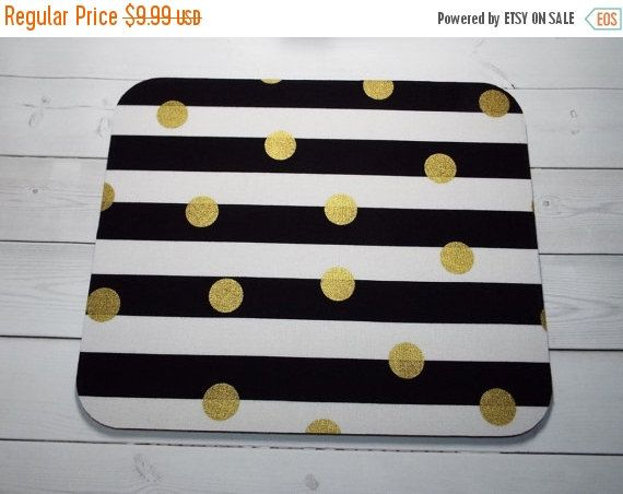 Sale  black white stripes gold Mouse Pad gold dots by Laa766  chic / cute / preppy / computer, desk accessories / cubical, office, home decor / co-worker, student gift / patterned design / match with coasters, wrist rests / computers and peripherals / feminine touches for the office / desk decor