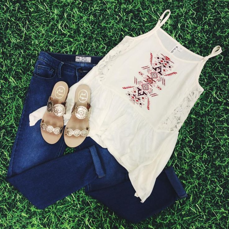 Pair Others Follow embroidered tank with dark Free People denim! Add Jack Rogers Lauren sandals and voila! #ShopGeezLouise