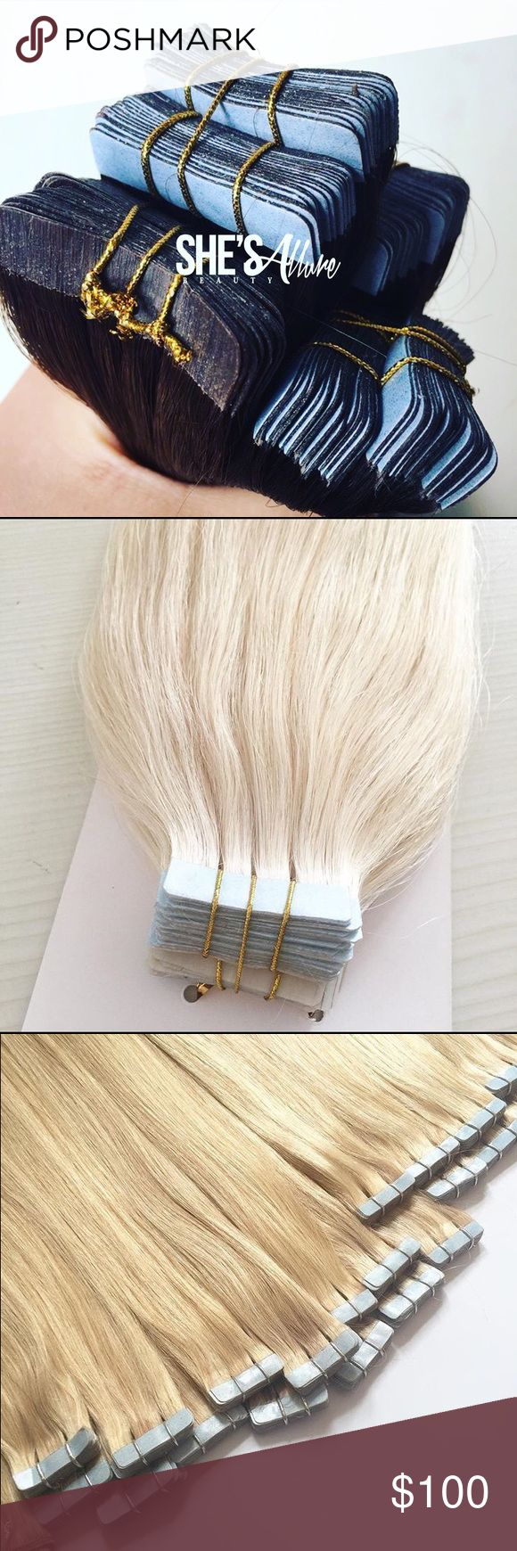Virgin hair tape extensions Virgin hair tape extensions last call 18-24 inches. 16 inches are sold out. End of the month sale. US Shipping only. Prices vary per pack Jewelry