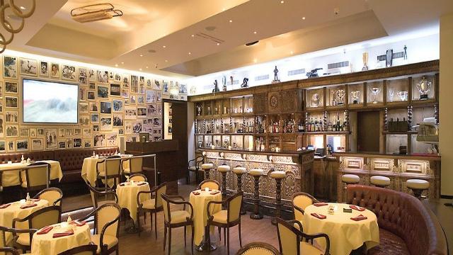 The Lovely Dining Lounge of the Kulm Hotel - St. Moritz, Switzerland