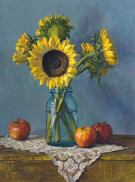 Elizabeth Floyd. Still Life with Sunflowers and Apples, 2007-12