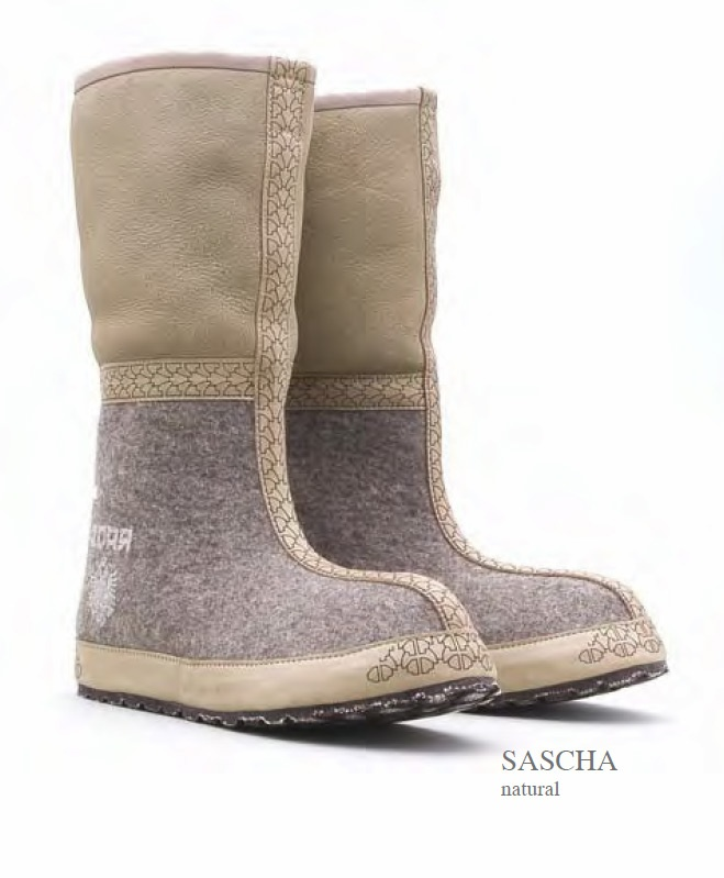 ZDAR Sascha, Natural  - 100% wool felt, shearling, calf leather, 'cushion comfort' insole covered with calf leather, sole material: rubber, hemp.