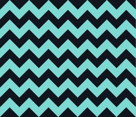 Chevrons Aqua and Black fabric by juliesfabrics on Spoonflower - custom fabric