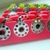 Great sewing hacks! I had never thought to store bobbins this way!  Using a pedicure toe spacer!!!