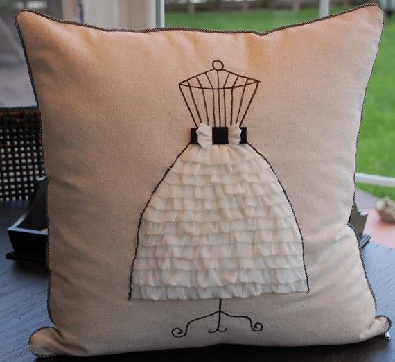 Dress form pillow cover on Etsy, Secdus shop. May I could do something similar with my leftover laces?