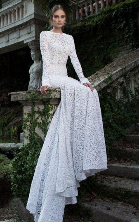Elegant Mermaid Floor-length Scoop Long Sleeves Wedding Dress