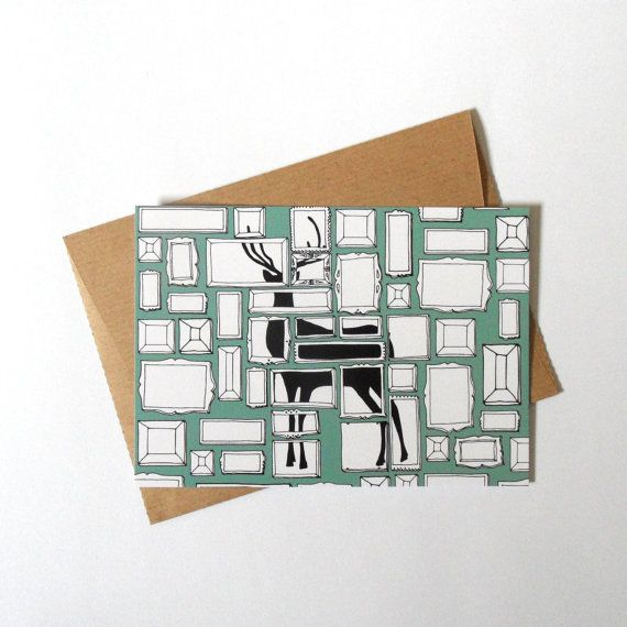 Mint postcard with an illustration of a deer silhouette hidden in frames.    Includes a brown envelope, handmade from packaging paper. | Shop this product here: spree.to/akta | Shop all of our products at http://spreesy.com/BleuWaveImages    | Pinterest selling powered by Spreesy.com