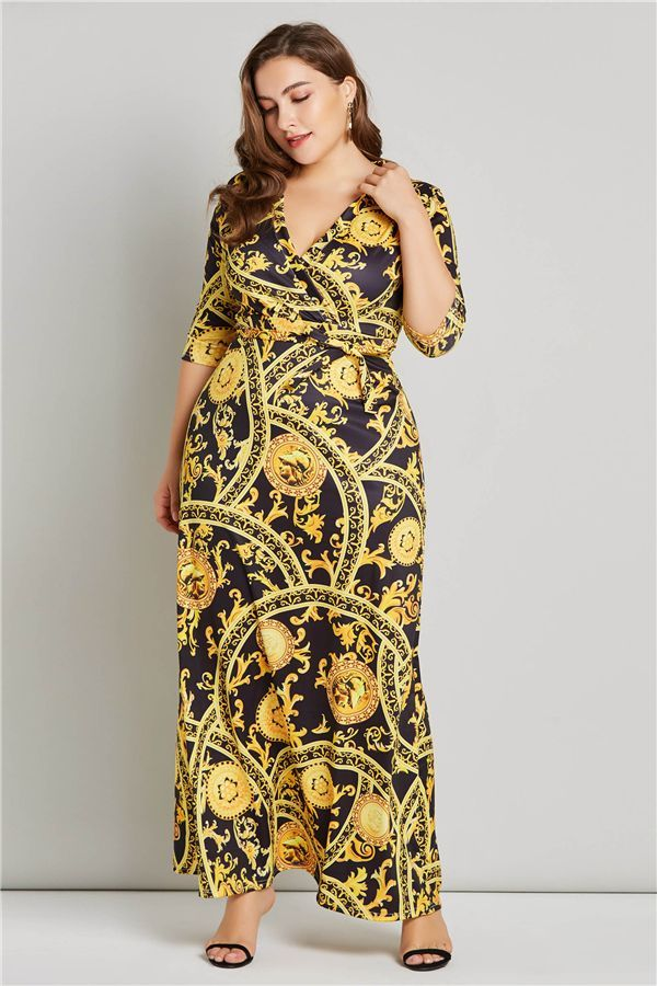 Plus Size Prints V-Neck 3/4 Length Sleeves Women\'s Maxi Dress in ...