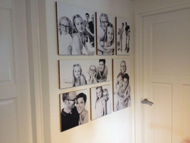 Mieke heeft haar zelf gemaakte Ogu met foto's van het gelukkige gezin in de hal…