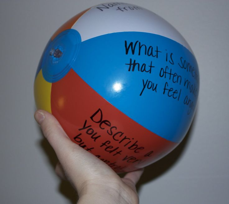 "Great ""get-to-know-you"" game! Write questions on the beach ball, pass it around and whichever one your finger lands on when you catch it, you answer!"