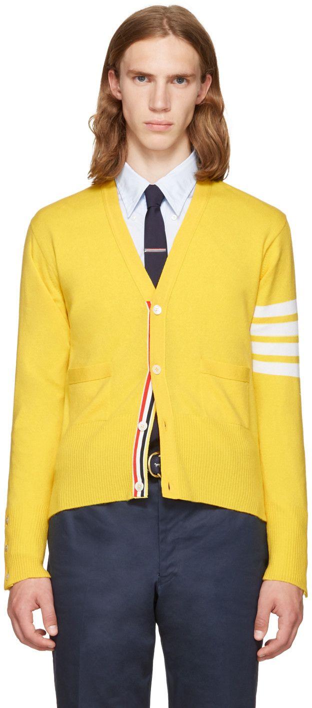 THOM BROWNE Yellow Classic V-Neck Cardigan. #thombrowne #cloth #cardigan