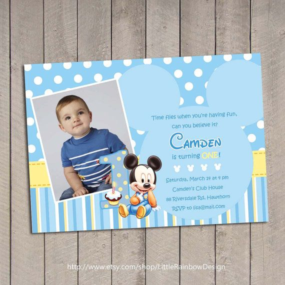 Baby Mickey 1st Birthday Invitation / Baby by LittleRainbowDesign, $12.00