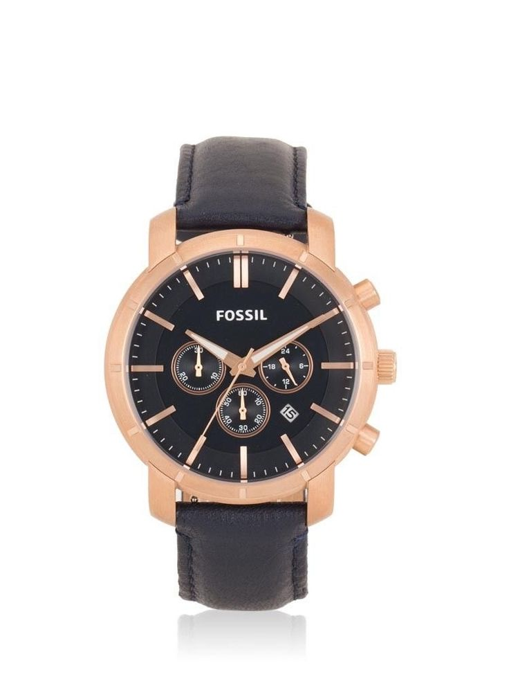 FOSSIL CHRONOGRAPH DATE BLACK DIAL NAVY BLUE LEATHER MENS WATCH BQ2134 DISPLAY