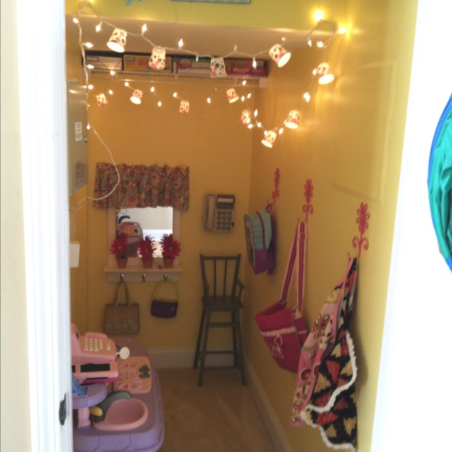 Closet under stairs turned playroom. So cute. Love the
