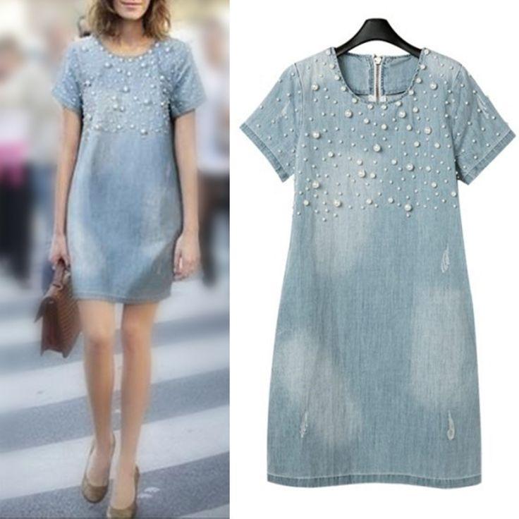 Летнее платье 2015 Весна новый женщин платье Жан свободные короткий рукав бисером джинсовая одежда бренда Vestidos женщина плюс размер