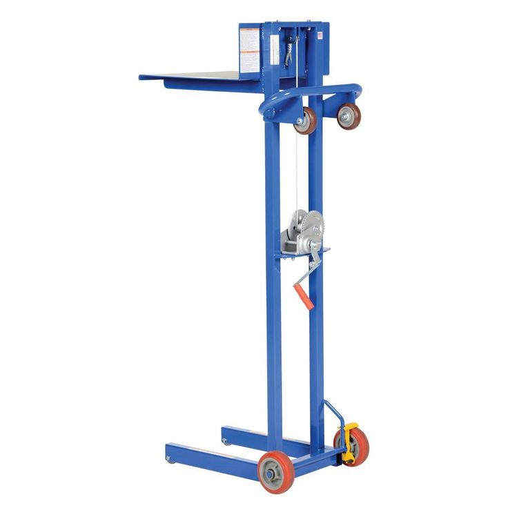 500 lb steel winch operated lite load lift with fixed wheels
