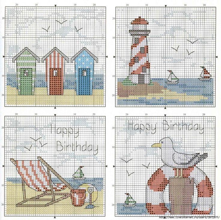 Seaside counted cross stitch