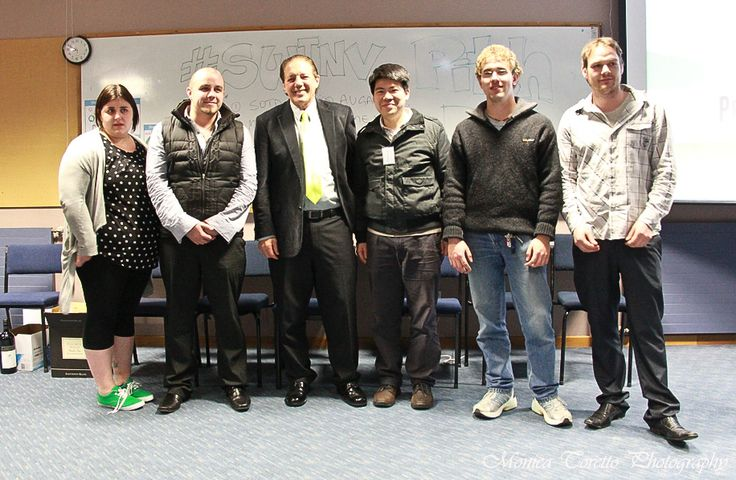 The winning group of 'Soup of The Day' with Invercargill Mayor Tim Shadbolt. Invercargill Start Up Weekend, July 28, 2013.