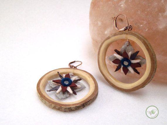 Boucles d'oreille en bois créoles avec écorce et par LesBoisettes