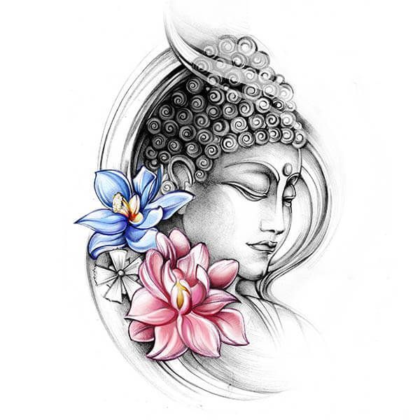 Budha With Colourful Lotus Flowers Tattoo Buddha Tattoo Design Tattoo Designs Sleeve Tattoos