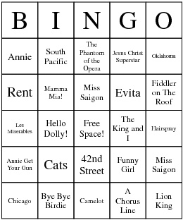 Musical Theater game! Major Broadway musicals.