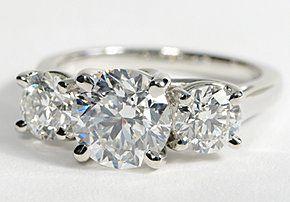 NOW WERE TALKING Three Stone Trellis Diamond Ring in Platinum #BlueNile