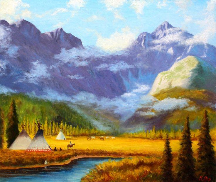 """""""Лагерь индейцев""""  (Холст-картон, масло. Размеры 50*60) Копия работы художника Гэри Каппы - Богатство черноногих."""